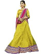 Suchi Women Net Lehenga Saree (Sfjag90247 _Light Green And Pink _Free Size)