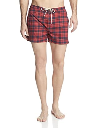 GANT Rugger Men's Check Swim Trunks (Bright Red)