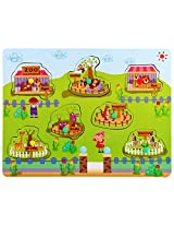 PIGLOO Wooden Knob Peg Puzzle - Zoo Theme, For Ages 3+ Years