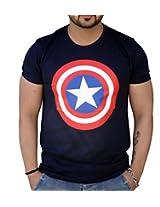 Black Collection Men's Round Neck Cotton T-Shirt (BCSA0027_Blue_Medium)