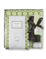 SwaddleDesigns Lime with Brown Mod Circles - Baby Gift Set
