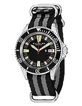 Stuhrling Original Men's 907.331ON1 Aquadiver Regatta Bravura Swiss Quartz Date Black and Grey Canvas Strap Watch