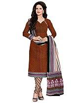 Salwar Studio Red & Black Cotton Dress Material with Dupatta SHIMAYAA-1206