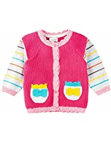 Infant Girls Full Sleeve Sweater With Placket, Multi Colour (0-6 Months)