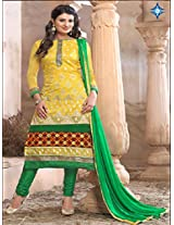 Uf6025_new Arrival Yellow With Green Anarkali Suit