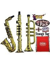 Forum Novelties Gold Saxophone, Clarinet & Trumpet Party Kazoo Play Musical Instruments Gift Set Bun