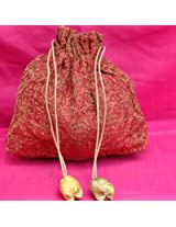 Benarasi cloth Potli bags with strings (H- 8' x Base- 7') BPB87PSR | Color Multicolour