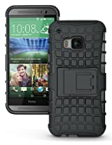 JKase DIABLO Tough Rugged Dual Layer Protection Case Cover with Build in Stand for HTC One M9 (Black)