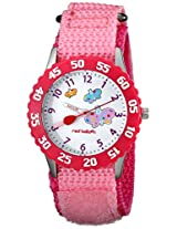 Red Balloon Kids W000182 Butterflies Time Teacher Stainless Steel Watch with Pink Nylon Band
