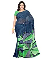 Admyrin Blue Georgette Printed Saree with Green Blouse