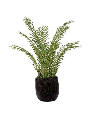 Lux-Art Silks Large Fern in Black Pot, Green