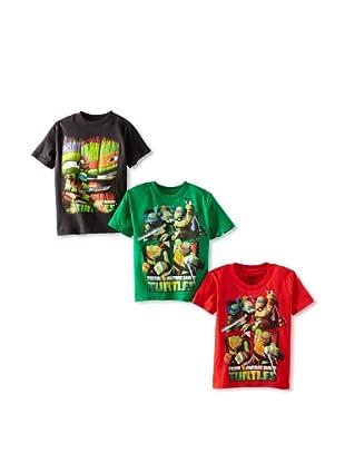Freeze Boy's Ninja Turtles 3-Pack T-Shirt Bundle (Green/Red/Black)