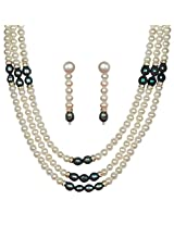 Classique Designer Silver Alloy With Gold Plated Round Pearl Necklace Set For Women(CP171)