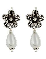 Haat4Art Pearl & Silver Flower Drop Earrings for Women