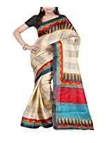 Shree Balaji Syntheticas Women's Faux Georgette Others Saree (Multi-Coloured)