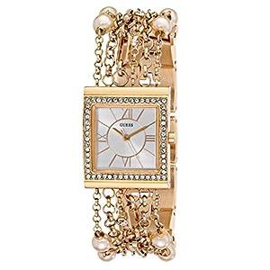 GUESS Women's U0140L2 Pearl Embellished Gold-Tone Bracelet Watch
