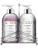 Upper Canada Soap Maison Hand/Body Wash and Lotion Caddy Gift Set, Vanilla Lavender