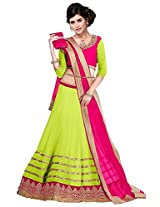 Vibes Women's 60gm Georgette Unstiched Party Wear Lehenga Choli (L13-25009_Green)