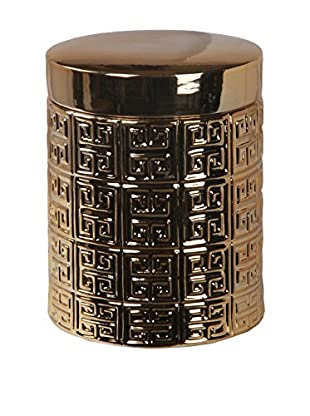 Privilege Large Container with Lid, Metallic Gold