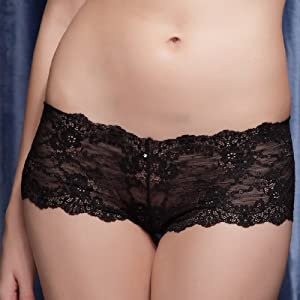 Fashion Stretch Lace Hipster In Black