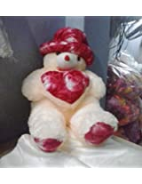 """Soft Toy Teddy Bear With""""Heart Cream And Red"""