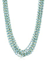 "Kenneth Jay Lane 36"" 20 Row Gold and Turquoise Necklace"