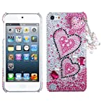 MyBat Pink Charming Hearts Premium 3D Diamante Back Protector Cover for iPod touch 5