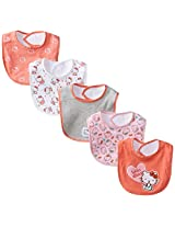 Hello Kitty Baby-Girls Newborn 5 Pack Hearts Bibs