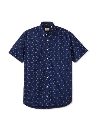 Gitman Blue Men's Vintage Art Deco Print Long Sleeve Sportshirt (Navy)