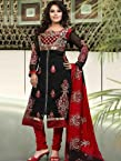 Red Black Embroidery Georgette Salwar Kameez:wdv30307