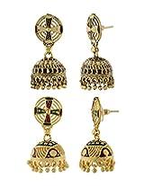 Nisa Pearls Pair Of Jhumka Earrings With Multi color Enamel