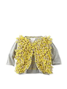 kicokids Girl's Tulle Pompom Embellished Cardigan (Citrus)