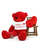 5 Feet Big Red Teddy Bear wearing a Will You Marry Me Engagement Ring T-Shirt