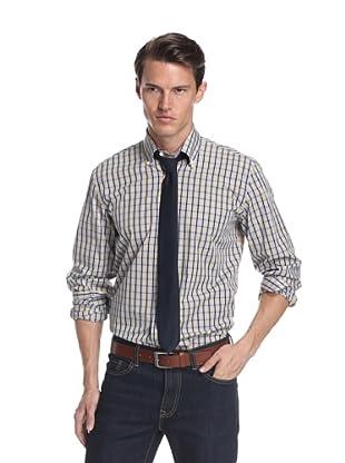 Nikky Men's Regular Fit Hand-Made Shirt (Yellow/Blue Check)
