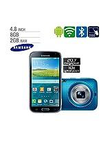 Samsung SM-C115 Galaxy K Zoom Mobile Phone - 4.8 (121.9mm) HD Super AMOLED Display, 1.7GHz Dual + 1.3GHz Quad Processors, 2GB RAM, 8GB Storage, 20.7MP BSI CMOS, 10x Optical Zoom, WiFi, 4G - Blue