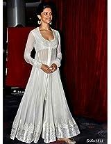 Deepika Padukone In White Anarkali At The Launch Chaennai Express