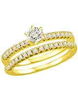 1.62TCW H/ SI2 Cert Diamond Wedding Engagement Ring Set