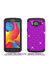 Samsung Galaxy Avant G386 Case - Dual Layer Hybrid Diamond Rhinestone Case for Samsung Galaxy Avant G386 (PURPLE ON BLACK SKIN DIAMOND HYBRID)