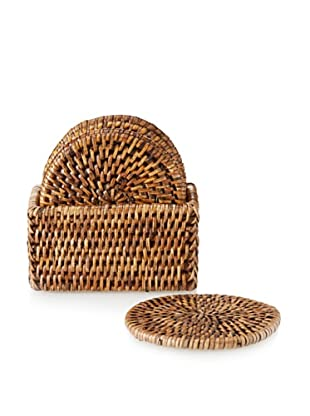 Matahari Set of 6 Round Handwoven Coaster Box Set