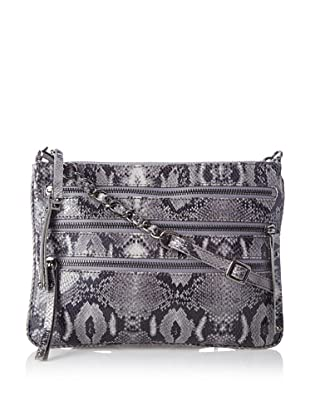 Chez by Cheryl Women's Lucia Zipper Cross-Body, Grey Python