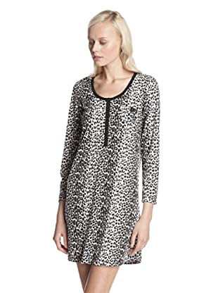 BH PJ's by BedHead Pajamas Women's Placket Nightshirt (Snow Leopard Black)