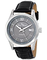 """Lucien Piccard Men's LP-12392-014 """"Meuse"""" Stainless Steel Automatic Watch with Black Leather Band"""