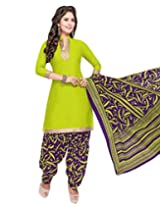 Jevi Prints Green Unstitched Cotton Punjabi Suit with Mangalgiri Border