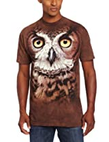 The Mountain Men's Great Horned Owl Head T-Shirt, Brown, Medium