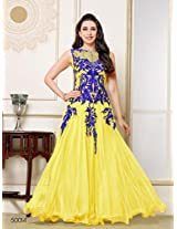 Style Mania Women's Semistitched Anarkali Suit (Yellow_Free Size)