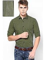 Green Micro Checks Roll Up Sleeve Shirt
