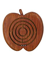 Indian Wooden Ball in a Maze Puzzle Handheld Dexterity Game for Kids, Apple Shape,5 Inches