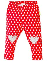 Infant Girls Legging With Heart Print - Red (0-6 Months)
