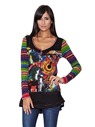 Peace & Love Camiseta Estampado y Bordado (Multicolor)