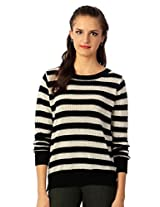 Allen Solly Black And White Striped Sweater